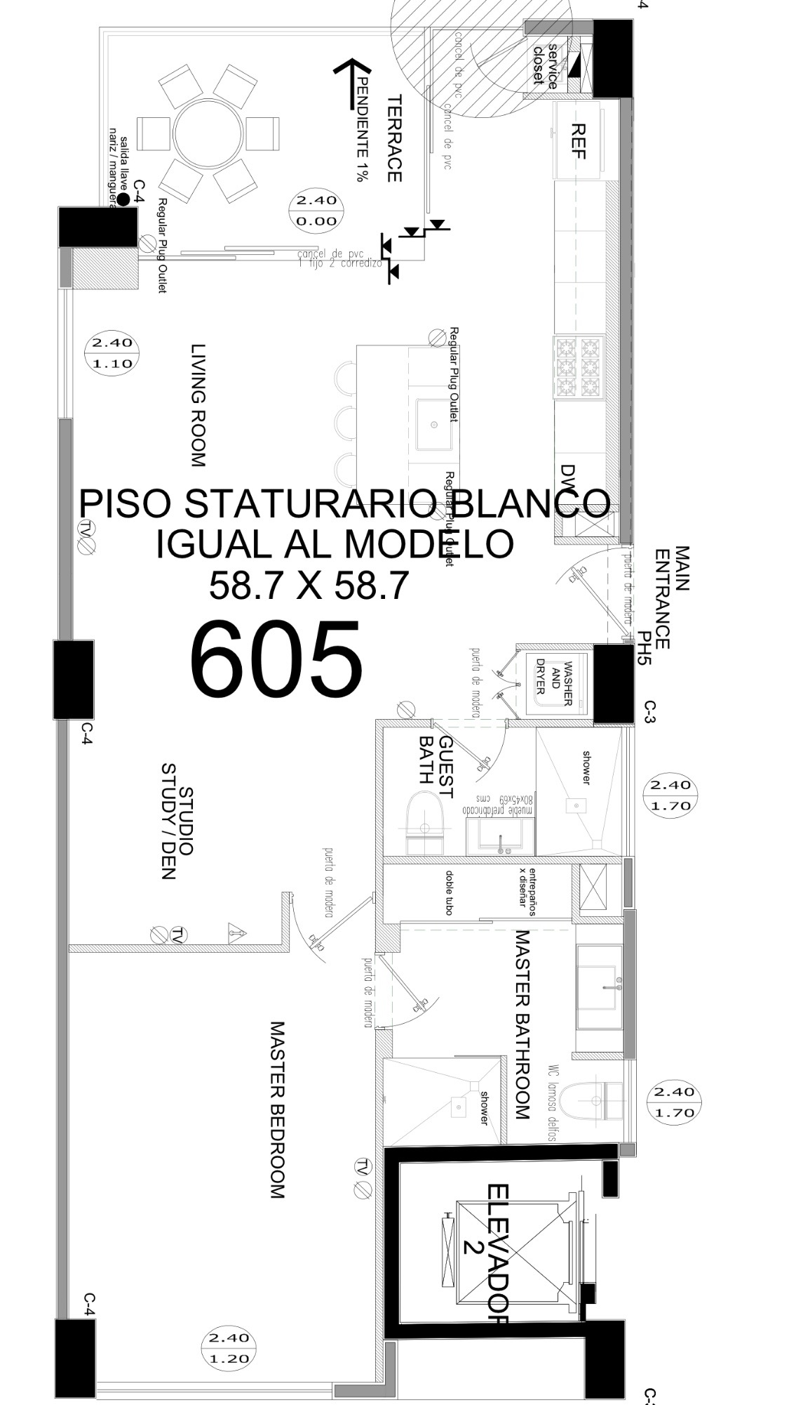 Layout of condo.